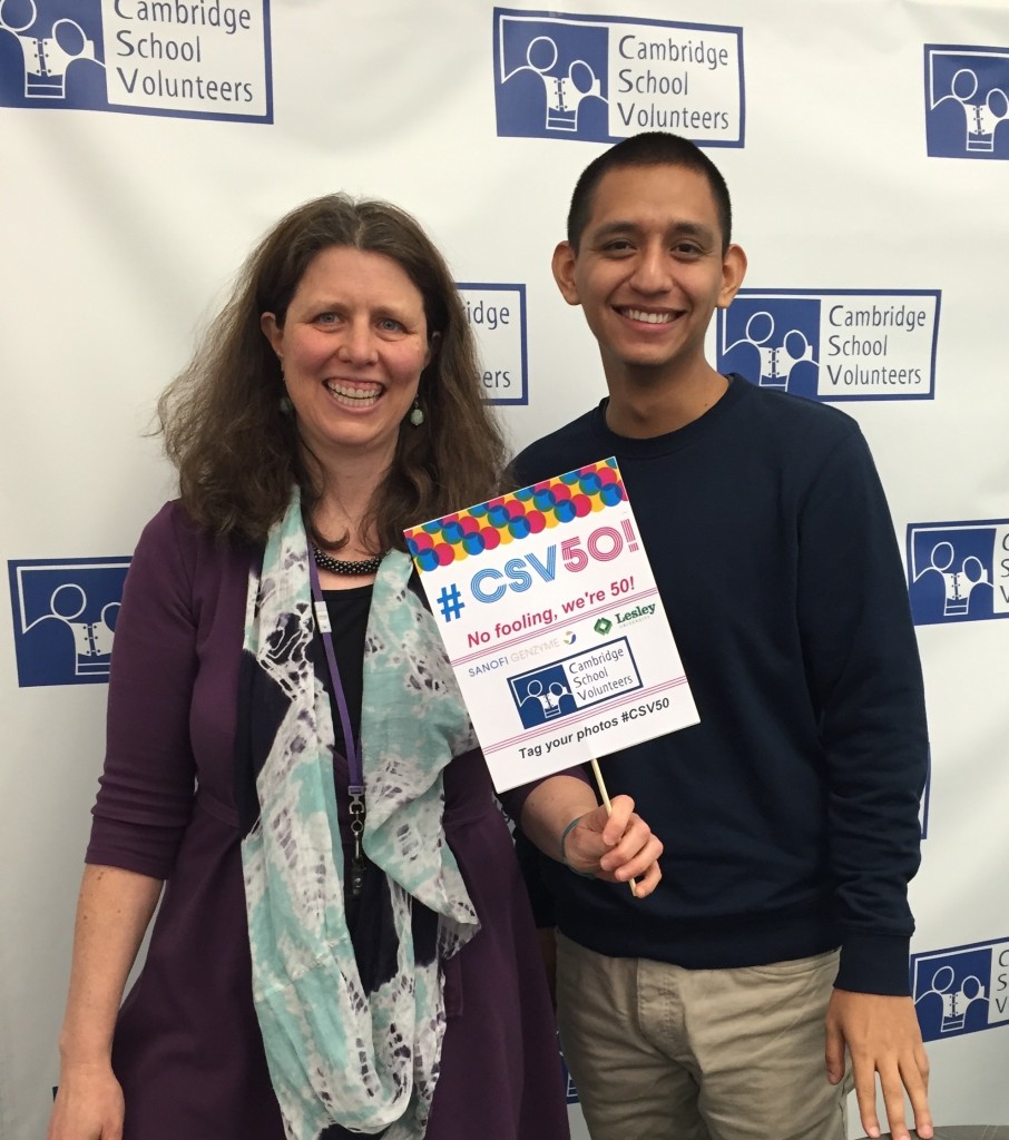 "Jennifer Fries, CSV's executive director, and Ivan Valdovinos, our intern from the Harvard Graduate School of Education, try out the props for the photo ""booth"" we're making available for guests at CSV 50!."