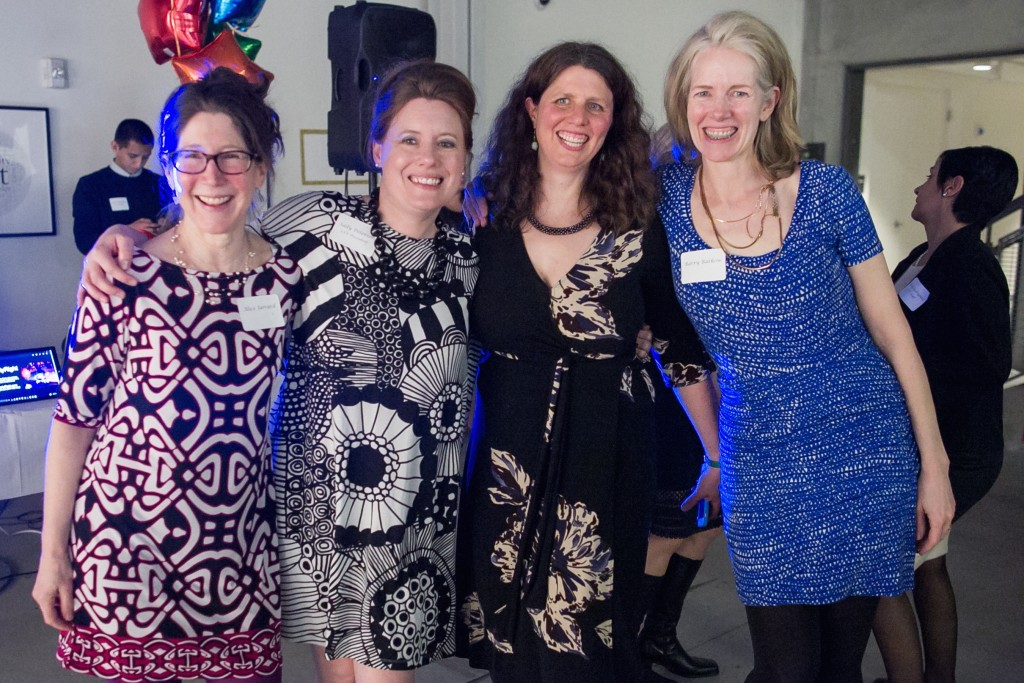 Parents at three CPS schools are represented here (L-R): Alice Jarrard, CSV Board President Sally Peterson, CSV Executive Director Jennifer Fries, and Alice Bredin.