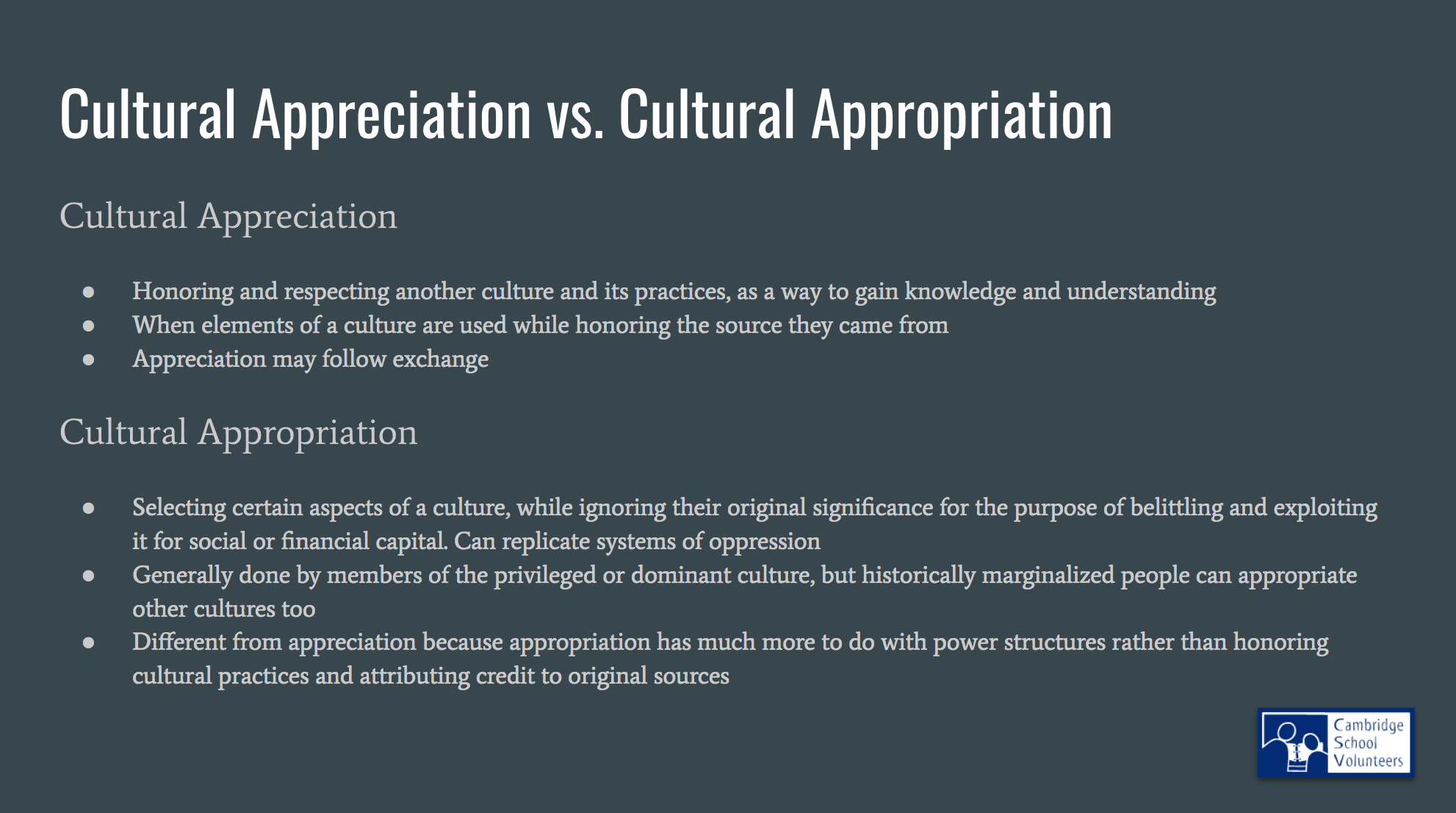 Bullet points with text with examples of cultural appreciation contrasted with examples of cultural appropriation